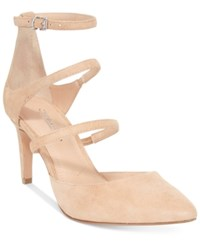Charles By Charles David Lena Three Strap Mid Heel Pumps Women's Shoes Nude