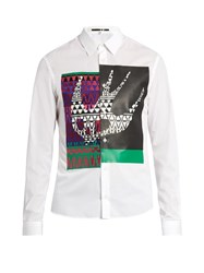 Mcq By Alexander Mcqueen Masai Fair Isle Swallow Print Cotton Shirt White Multi