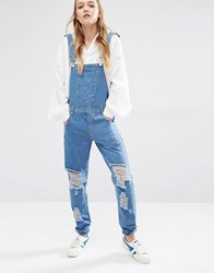 Daisy Street Distressed Overalls Mid Wash