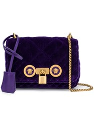 Versace Velvet Medusa Crossbody Bag Pink And Purple