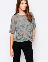 Vila Short Sleeve Top With Cut Out Detail Grey