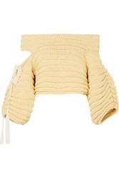 Hellessy Bahia Off The Shoulder Cutout Ribbed Cotton Sweater Yellow Gbp