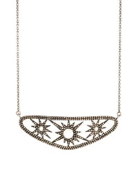 Bavna Moonstone And Champagne Diamond Starburst Station Necklace