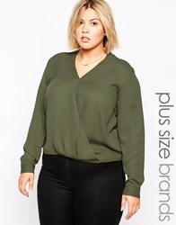 Brave Soul Plus Long Sleeve Wrap Front Blouse Khaki