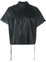 Diesel Black Gold Short Sleeved Leather Jacket Black