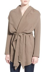 Women's Soia And Kyo Hip Length Drapey Hooded Wrap Coat
