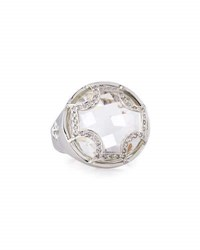 Elizabeth Showers White Quartz Checkerboard Ring Silver