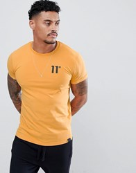 11 Degrees Muscle Fit T Shirt In Yellow With Logo