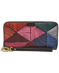 Fossil Emma Rfid Large Zip Clutch Wallet Pink Multi