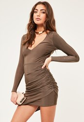 Missguided Petite Exclusive Brown Asymmetric Slinky Dress Chocolate