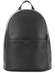Emporio Armani Logo Patch Backpack Black