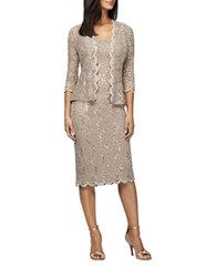Alex Evenings Petite Sequined Lace Jacket And Dress Set Champagne