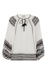 Sea Fringe Boho Blouse White Black