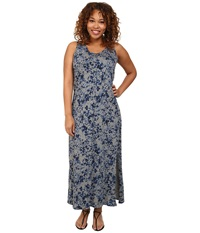 Dkny Plus Size Star Floral Printed Maxi Dress Smoke Gray Heather Women's Dress