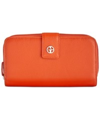 Giani Bernini Softy Leather All In One Wallet Spicy Orange Silver