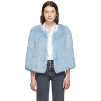 Yves Salomon Blue Rabbit Fur Knitted Jacket