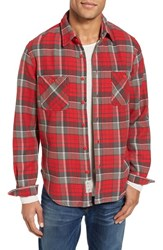 Schott Nyc Men's Classic Fit Plaid Flannel Shirt Red