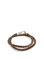 Tod's Braided Leather Bracelet Brown