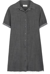 The Great Bias Distressed Cotton Chambray Shirt Dress Charcoal