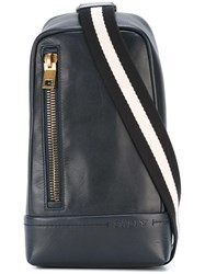 Bally Striped Strap Crossover Backpack Blue