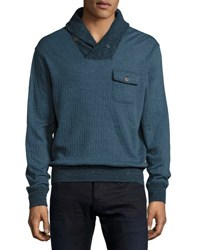 Faherty Shawl Collar Sweater Navy