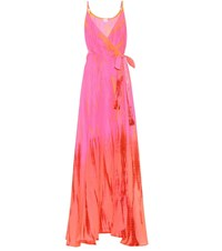 Anna Kosturova Tie Dye Silk Maxi Dress Pink