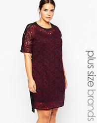 Carmakoma Lace Applique T Shirt Dress Red