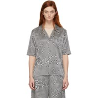 6397 Black And White Silk Printed Pj Shirt
