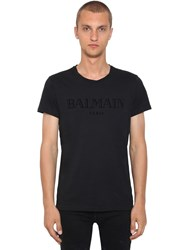 Balmain Logo Printed Cotton Jersey T Shirt Black
