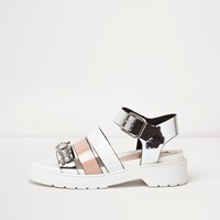 River Island Womens White Chunky Multi Strap Sandals