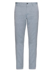 Burberry Slim Leg Linen And Cotton Blend Trousers