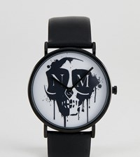 Noose And Monkey Watch With Leather Strap With Skull Black