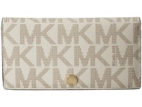Michael Michael Kors Jet Set Travel Lg Slim Wallet Vanilla Luggage Bi Fold Wallet White