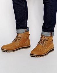 New Look Lace Up Worker Boots Tan