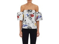 Lisa Perry Women's Jacquard Shantung Off The Shoulder Top Silver