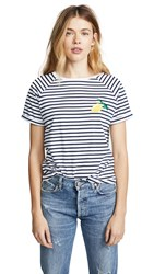 South Parade Lemon Striped Tee White Navy