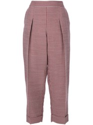 Giorgio Armani Dogtooth Cropped Trousers Women Silk Viscose Wool 44 Red