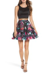 Sequin Hearts Women's Printed Shadow Skirt Two Piece Fit And Flare Dress Black Magenta