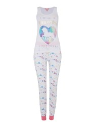 Lipsy I Belive In Unicorns Cuffed Pj Set White