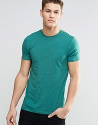 Asos Muscle T Shirt With Crew Neck In Teal Marl Pacific Marl Green