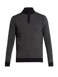 Ermenegildo Zegna Zip Front Wool Sweater Navy