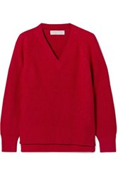 Michael Michael Kors Ribbed Knit Sweater Red