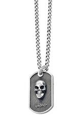 King Baby Studio Men's Skull Dog Tag Pendant Necklace Silver