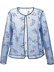 Mary Katrantzou Floral Lace Sheer Jacket Pink And Purple