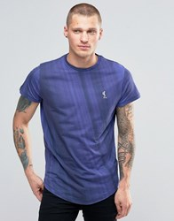 Religion T Shirt With Curved Hem And Gradient Fade Navy