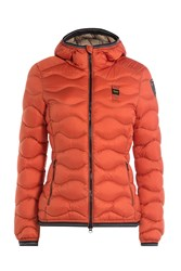 Blauer Wave Quilted Down Jacket With Hood Orange
