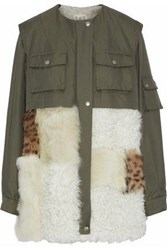 Sea Shearling Paneled Cotton Blend Twill Coat Army Green