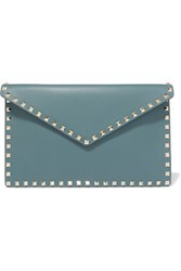 Valentino Garavani The Rockstud Large Leather Pouch Teal