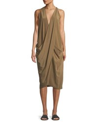 Urban Zen Washed Silk Drape Front Dress Light Green