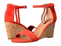 Tahari Farce Coral Suede Cork Women's Wedge Shoes Red